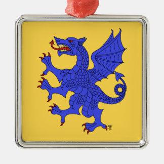 Ornamento (azul) desenfrenado del dragón adorno navideño cuadrado de metal