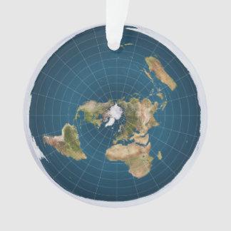 Ornamento azul equidistante azimutal del mapa de