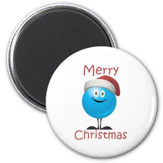 Ornamento azul feliz deseándole Felices Navidad Iman De Nevera