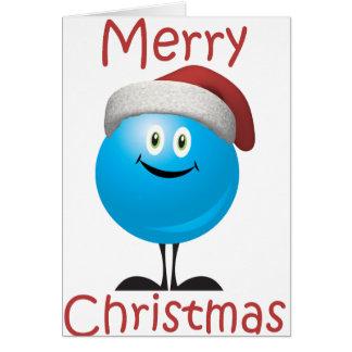 Ornamento azul feliz deseándole Felices Navidad Tarjeta De Felicitación