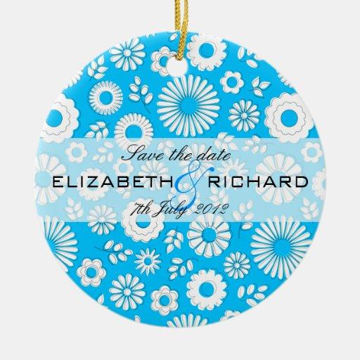 Ornamento azul floral del verano adorno redondo de cerámica