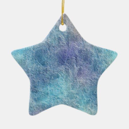 Ornamento azul fresco calmante abstracto de la adorno navideño de cerámica en forma de estrella