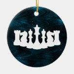 Ornamento azul personalizado del ajedrez de la adorno de reyes