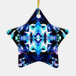 Ornamento azul púrpura mágico azul del día de adorno de cerámica en forma de estrella