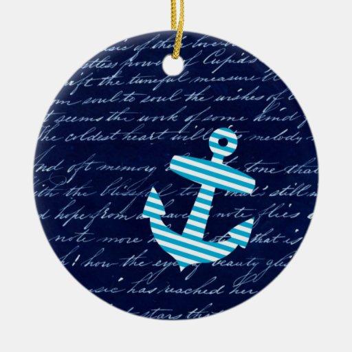 Ornamento azul rayado náutico del ancla adornos de navidad