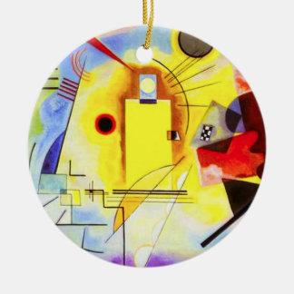 Ornamento azul rojo amarillo de Kandinsky Adorno Navideño Redondo De Cerámica