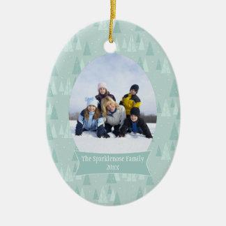 Ornamento azul suave de la foto del día de fiesta ornaments para arbol de navidad