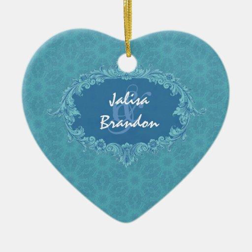 Ornamento azul Ver2 de los pares del boda Adorno Navideño De Cerámica En Forma De Corazón