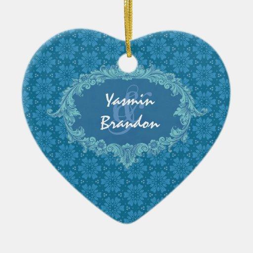 Ornamento azul Ver4 de los pares del boda Ornamentos Para Reyes Magos