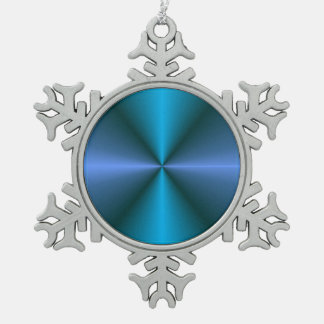 Ornamento azul/verde colorido del navidad de adorno de peltre en forma de copo de nieve