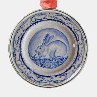 """Ornamento azul y blanco"""" del conejo azul de """"Dedha Ornamentos De Reyes Magos"""