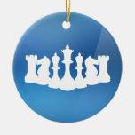 Ornamento azul y blanco personalizado del ajedrez ornamentos para reyes magos