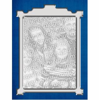 Ornamento azul y de plata del marco de la foto escultura fotográfica