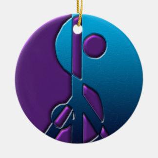 Ornamento azul y púrpura del signo de la paz de Yi Ornamentos De Reyes