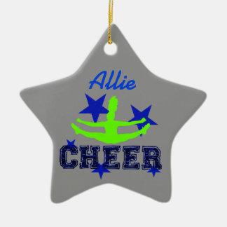 Ornamento azul y verde de la estrella de la adorno navideño de cerámica en forma de estrella