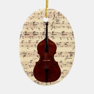 Ornamento - bajo doble lleno con partitura adorno navideño ovalado de cerámica