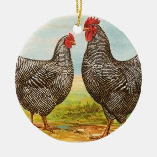 Ornamento barrado vintage de los pollos de adorno redondo de cerámica