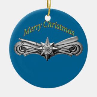 Ornamento básico de las operaciones de la fuerza adorno navideño redondo de cerámica