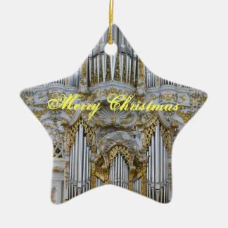 Ornamento bávaro del navidad del órgano adorno navideño de cerámica en forma de estrella