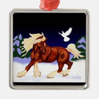 Ornamento belga del caballo de proyecto del día de adorno navideño cuadrado de metal