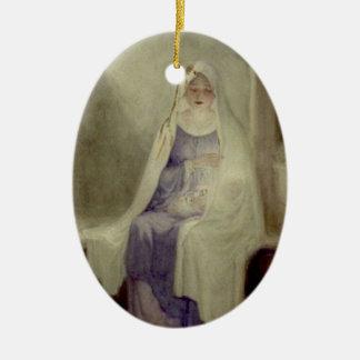 Ornamento bendecido de Maria Adorno Navideño Ovalado De Cerámica