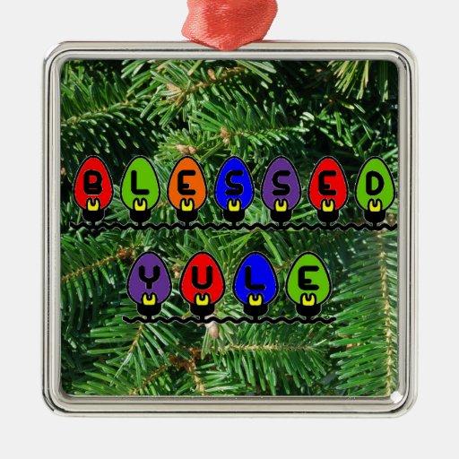 Ornamento bendecido de Yule Adorno Navideño Cuadrado De Metal