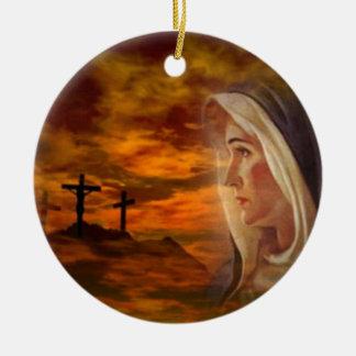 Ornamento bendecido del Calvary del Virgen María Adornos De Navidad