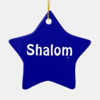 Ornamento blanco azul de la estrella de Shalom Adorno Navideño De Cerámica En Forma De Estrella