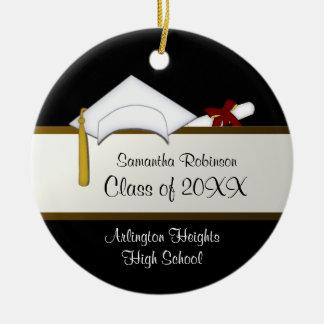 Ornamento blanco de la graduación del casquillo adorno redondo de cerámica