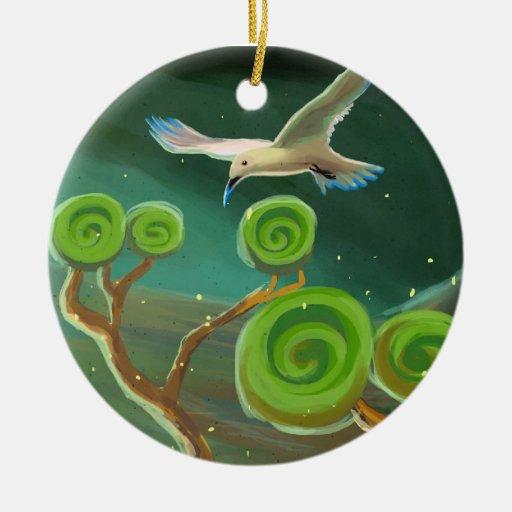 ornamento blanco de lujo del pájaro adorno navideño redondo de cerámica