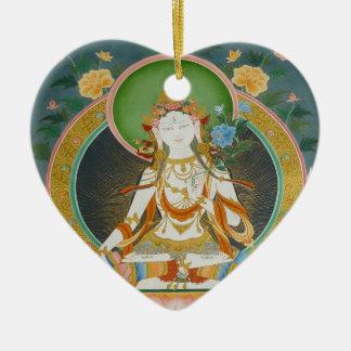 Ornamento blanco de Tara Adorno Navideño De Cerámica En Forma De Corazón