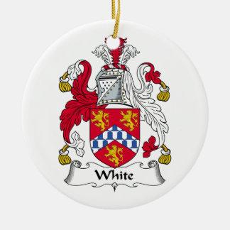 Ornamento blanco del escudo de la familia adorno navideño redondo de cerámica