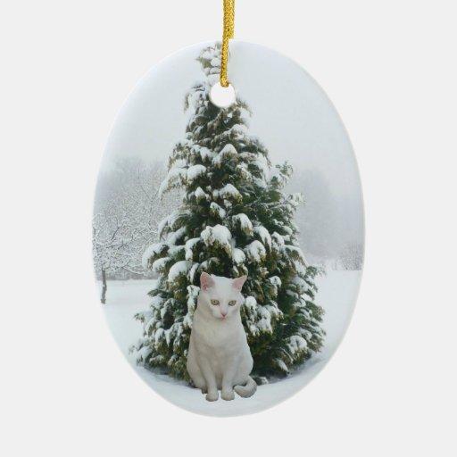 Ornamento blanco del navidad del gatito adornos de navidad