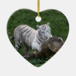 Ornamento blanco del navidad del tigre ornamentos de navidad