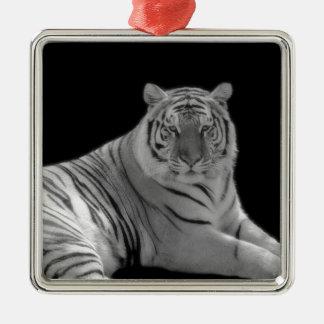 Ornamento blanco del tigre adorno cuadrado plateado
