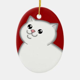 Ornamento blanco gordo feliz del recuerdo del gato adorno navideño ovalado de cerámica