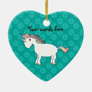 Ornamento blanco lindo del unicornio del arco iris adorno navideño de cerámica en forma de corazón