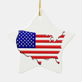 Ornamento blanco rojo patriótico de los E.E.U.U. Adorno Navideño De Cerámica En Forma De Estrella