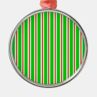 Ornamento blanco rojo verde de las rayas adorno redondo plateado