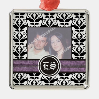 Ornamento blanco y negro de la foto del boda del adorno para reyes