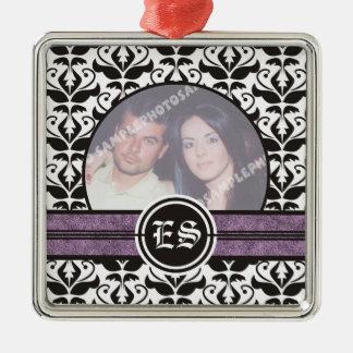 Ornamento blanco y negro de la foto del boda del ornamento para arbol de navidad