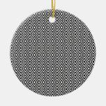 Ornamento blanco y negro de los diamantes ornamento de navidad