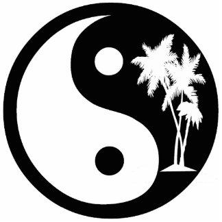 Ornamento blanco y negro de Yin Yang de la palmera Escultura Fotografica
