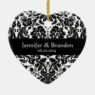 Ornamento blanco y negro del boda del damasco de l ornamente de reyes