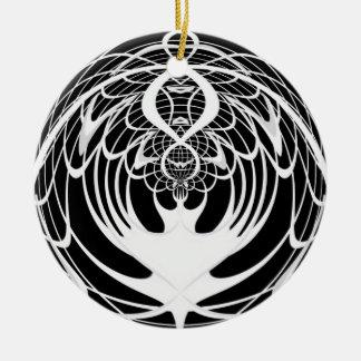 Ornamento blanco y negro del navidad del fractal adorno navideño redondo de cerámica