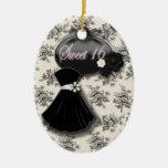 Ornamento blanco y negro personalizado del dulce ornamento para arbol de navidad