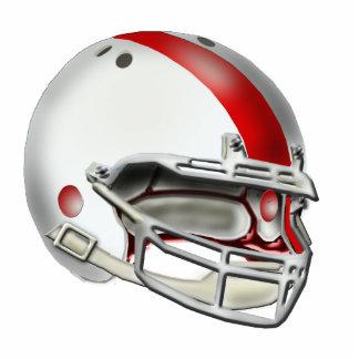 Ornamento blanco y rojo del casco de fútbol americ escultura fotográfica