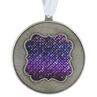 Ornamento Bling cristalino púrpura Strass Adorno Ondulado De Peltre