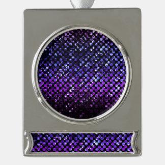 Ornamento Bling cristalino púrpura Strass de la Rótulos De Adorno Plateado