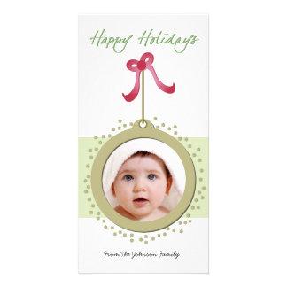 Ornamento bonito con photocard rojo del día de fie tarjeta con foto personalizada